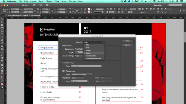 Create Interactive pdf with hyperlink using indesign hyperlink to page