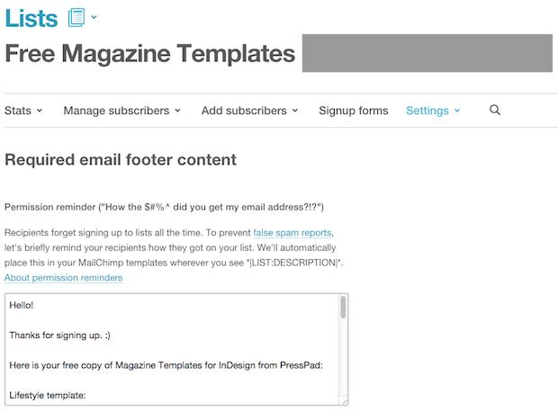MailChimp New List