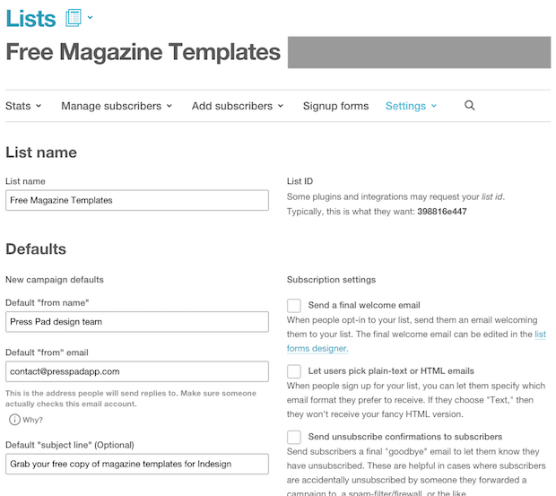 MailChimp Lists