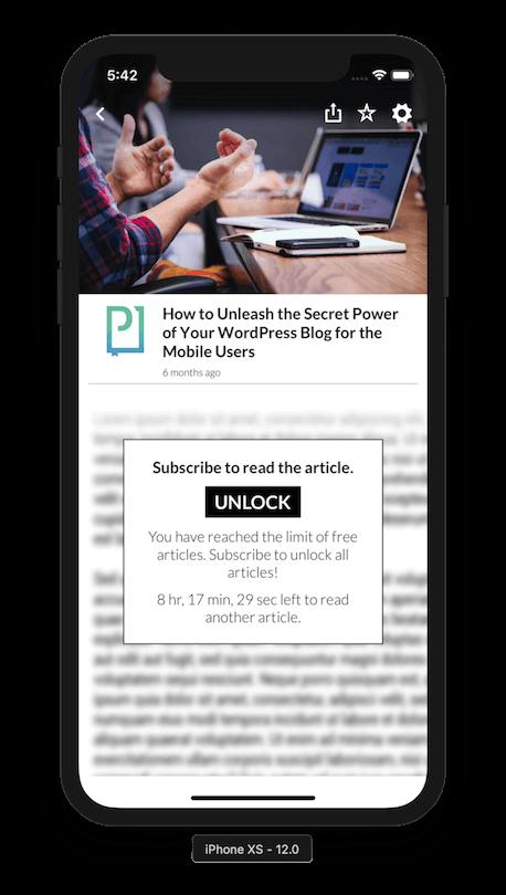PressPad mobile app paywall