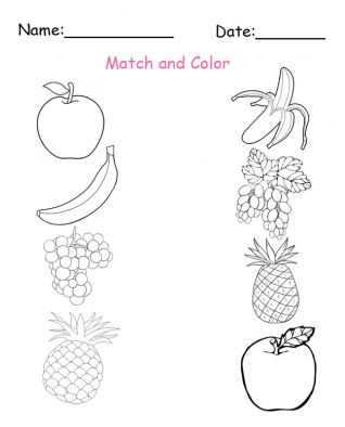 fruit worksheet colouring pages
