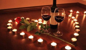 Valentine candles and wine