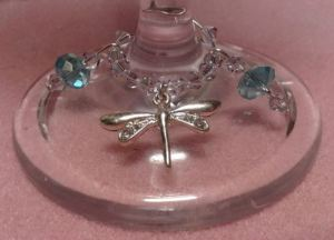 Dragonfly wine glass charm