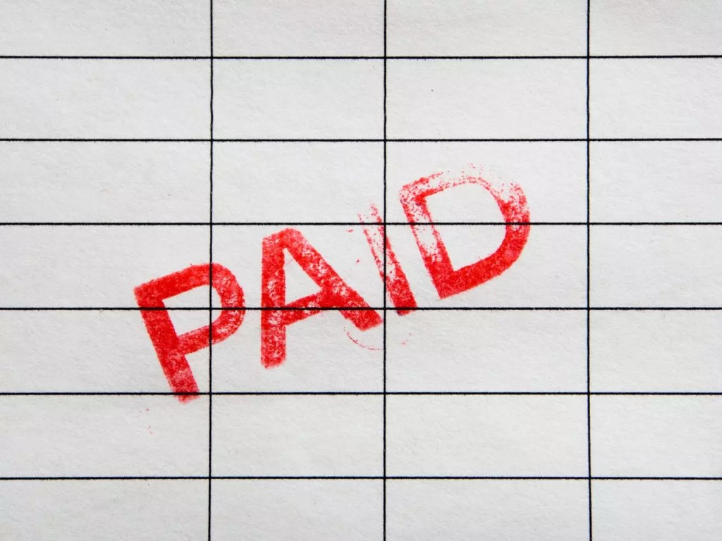 accounts receivable paid stamp