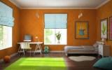 fun-design-tendência-tendencia-mercado-para-designers-de-interiores-arte-criatividade-cor-bom-humor-bomhumor-novidade-revolução-mudança-arte-nova-parede-cor-laranja-cama-com-mesa-próximo-tapete-verde-quadro-laranja-com-janela-aberta-e-vaso-de-flor