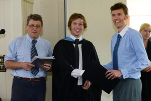 Paul Clark receives the 2012 Prosig ISVR Student Prize from James Wren of Prosig