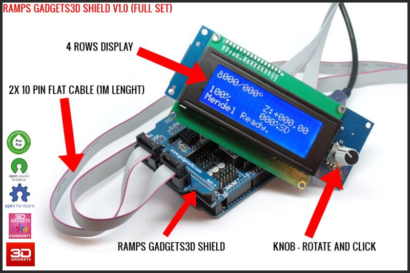 Configure Marlin Firmware with Ramps 1 4 and GADGETS3D Shield with