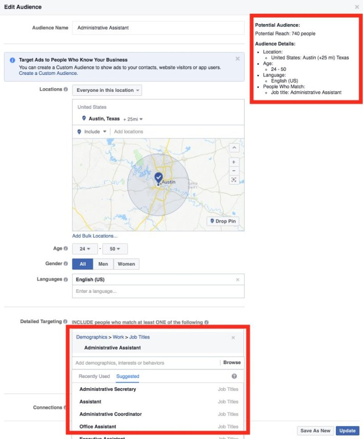 Facebook Ads Targeting Example