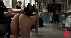 Curvy girl of objectified naked in a bus while the others watch