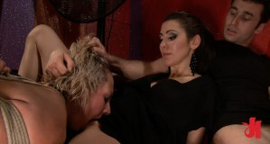 Kinky blonde gets her hair pulled while being tied up and is forced to eat pussy