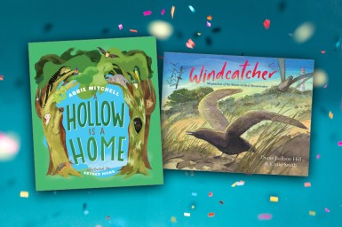 Front covers of children's books A Hollow is a Home and Windcatcher on confetti background