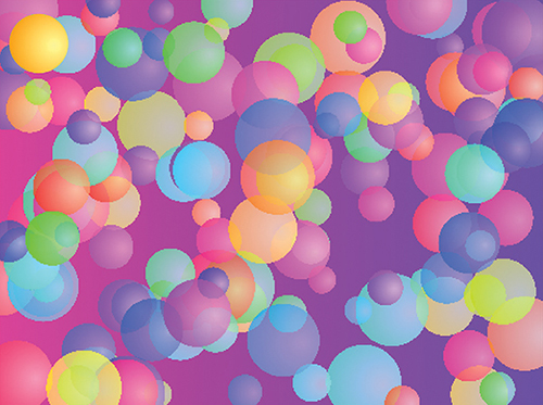 Digital artwork of multicoloured semi-transparent circles of different sizes on a pink-purple gradient background.