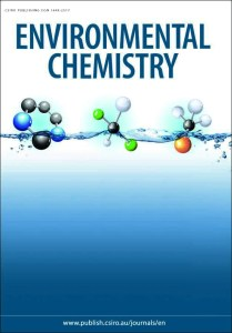 Current cover of Environmental Chemistry, featuring illustrations of molecules on a blue and white gradient background.
