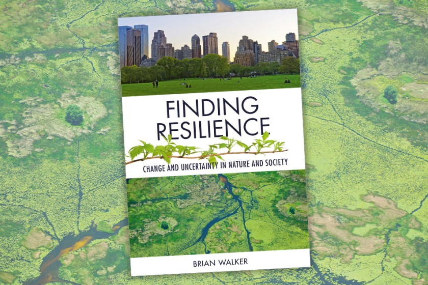 Cover of Finding Resilience featuring photos of a city and the Okavango Delta, overlaid on the same photo of the Okavango Delta