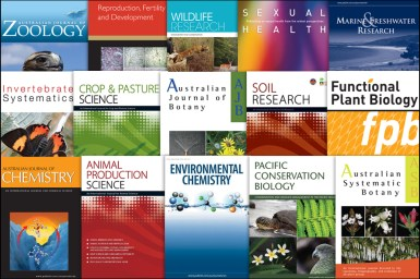 Collage of the covers of 15 journals owned and published by CSIRO Publishing