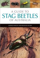 Cover of 'A Guide to Stag Beetles of Australia' featuring a photo of a beautiful metallic stag beetle on a log, with four small photos of other stag beetles above the title.