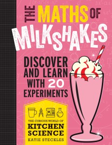 Cover of 'The Maths of Milkshakes' featuring a cartoon of a strawberry milkshake with whipped cream and a red-and-white straw on a pink background.