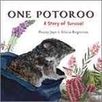 Cover of 'One Potoroo', featuring an illustration of a Gilbert's potoroo emerging from a cloth bag, surrounded by rocks and native plants on a white background.