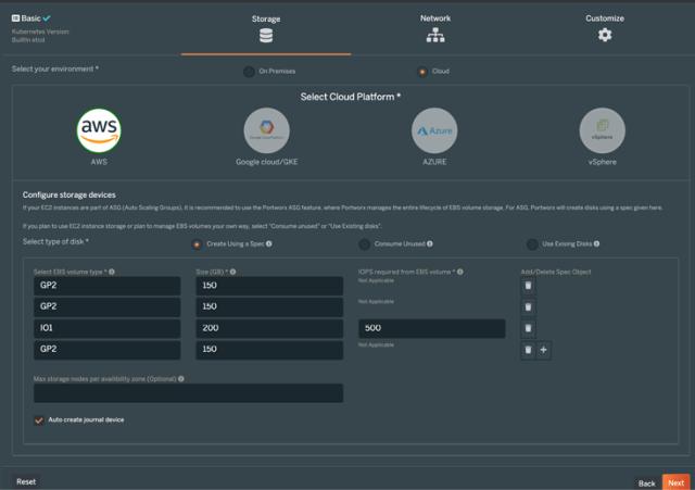 Portworx の機能は AWS、GCP、Azure、vSphere 環境でも利用可能