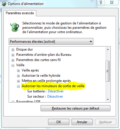 Options d'alimentation avancée Windows 7