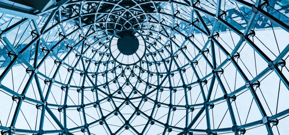 Curved Blue Glass Roof or Ceiling of Dome with Geometric Structure Black Steel in Modern