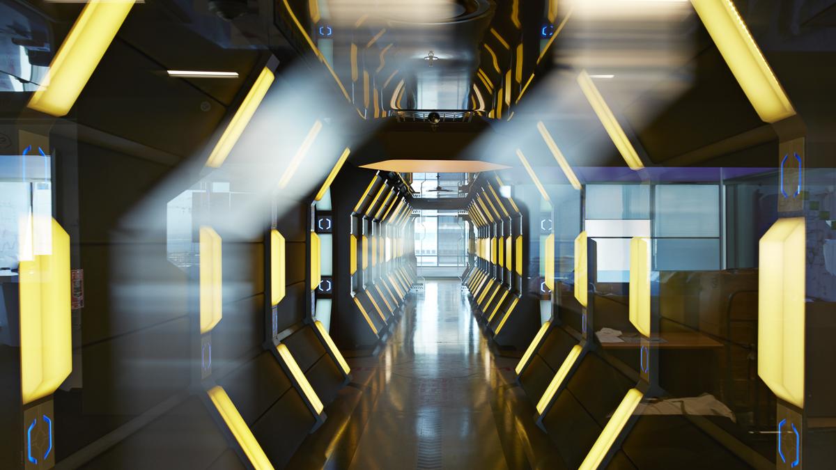 Interior shots of modern designed spaceship style corridor in office building