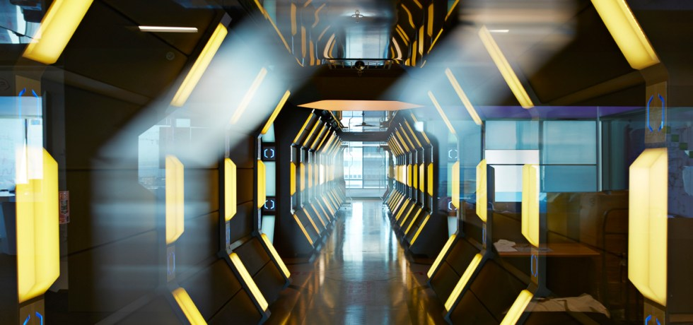 Interior shots of modern designed spaceship style corridor in office building