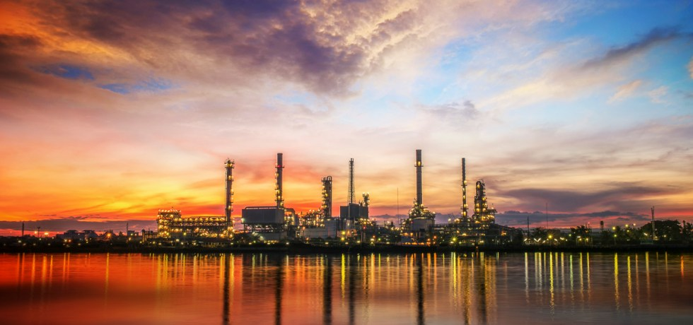 Oil and gas industry - refinery at sunrise