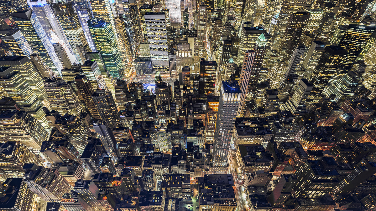 Aerial View of Midtown Manhattan at Night, NYC