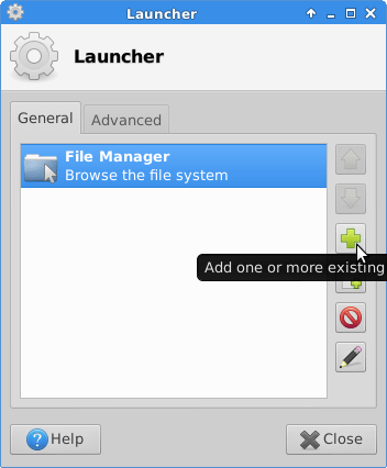 click plus to add a new launcher