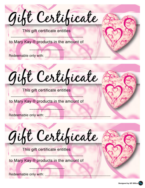Valentines Day Gift Certificate For Your Mary Kay