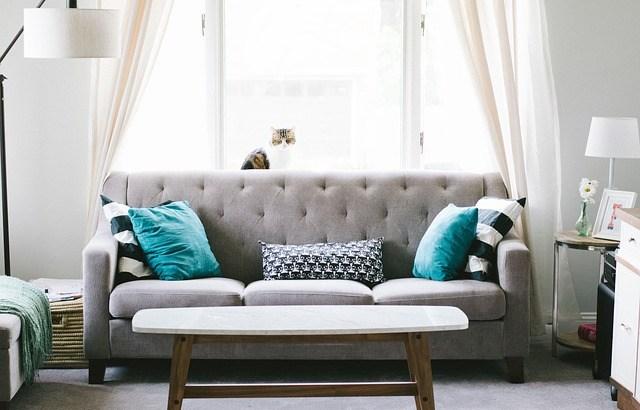 Canapé restauré en tissus