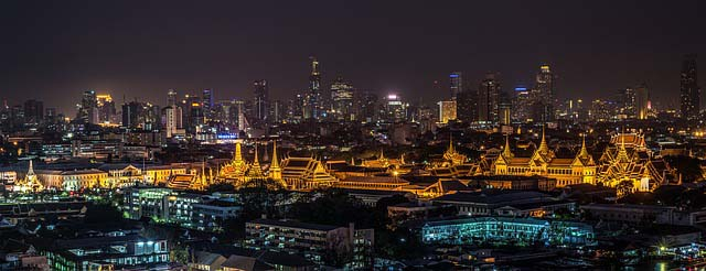 Vistas de Bangkok de noche