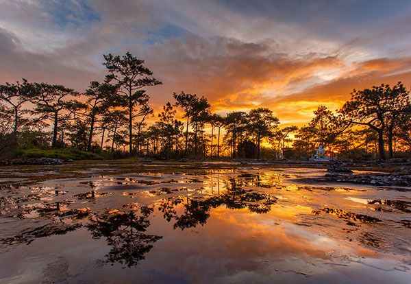 Phu Kradueng National Park at Sunset in Loei Province of Thailand