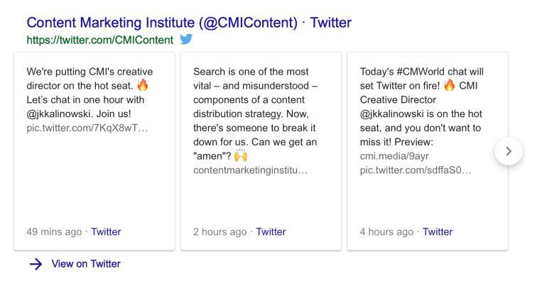 Content Marketing Institute's Twitter bio