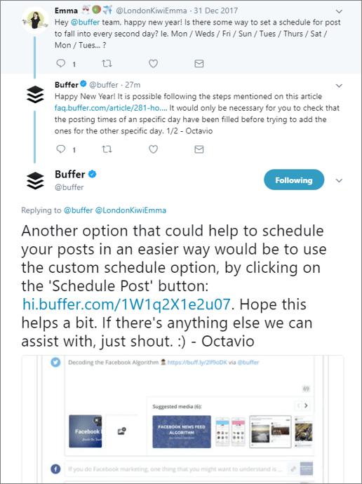 Buffer customer service