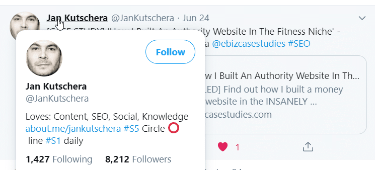 A screenshot of a Twitter user from Quuu sharing a Quuu Promote user's content, and they have over eight thousand followers.