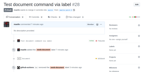 Screenshot of a GitHub Action workflow