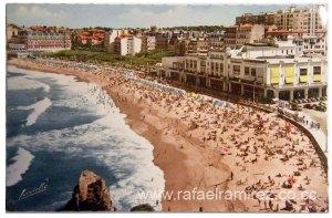 Postal años 50 - 737 Biarritz - Le Grande Plage et Le Casino Municipal. Front
