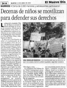 Decenas de niños se movilizan para defender sus derechos (El Nuevo Dia. 10 de abril de 2001)