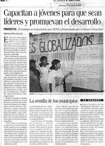 Capacitan a jóvenes para que sean líderes y promuevan el desarrollo (El Deber. 14 de agosto de 2002).
