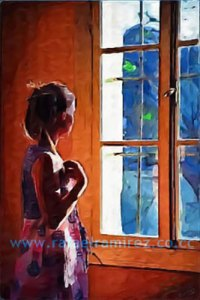Ante la ventana. Óleo sobre lienzo Rafael Ramírez
