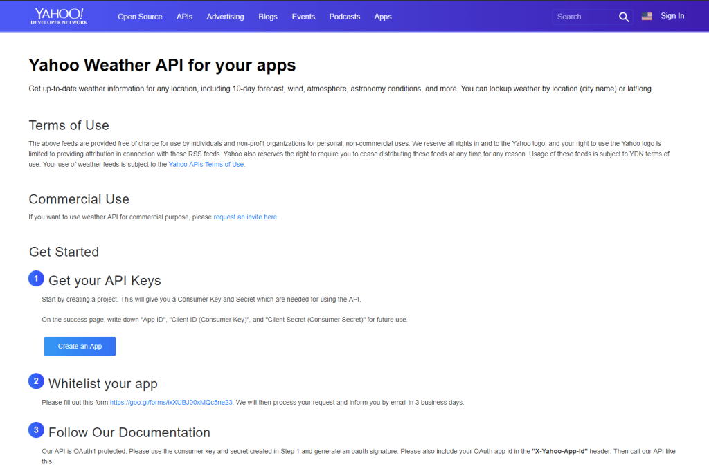 Yahoo Weather API