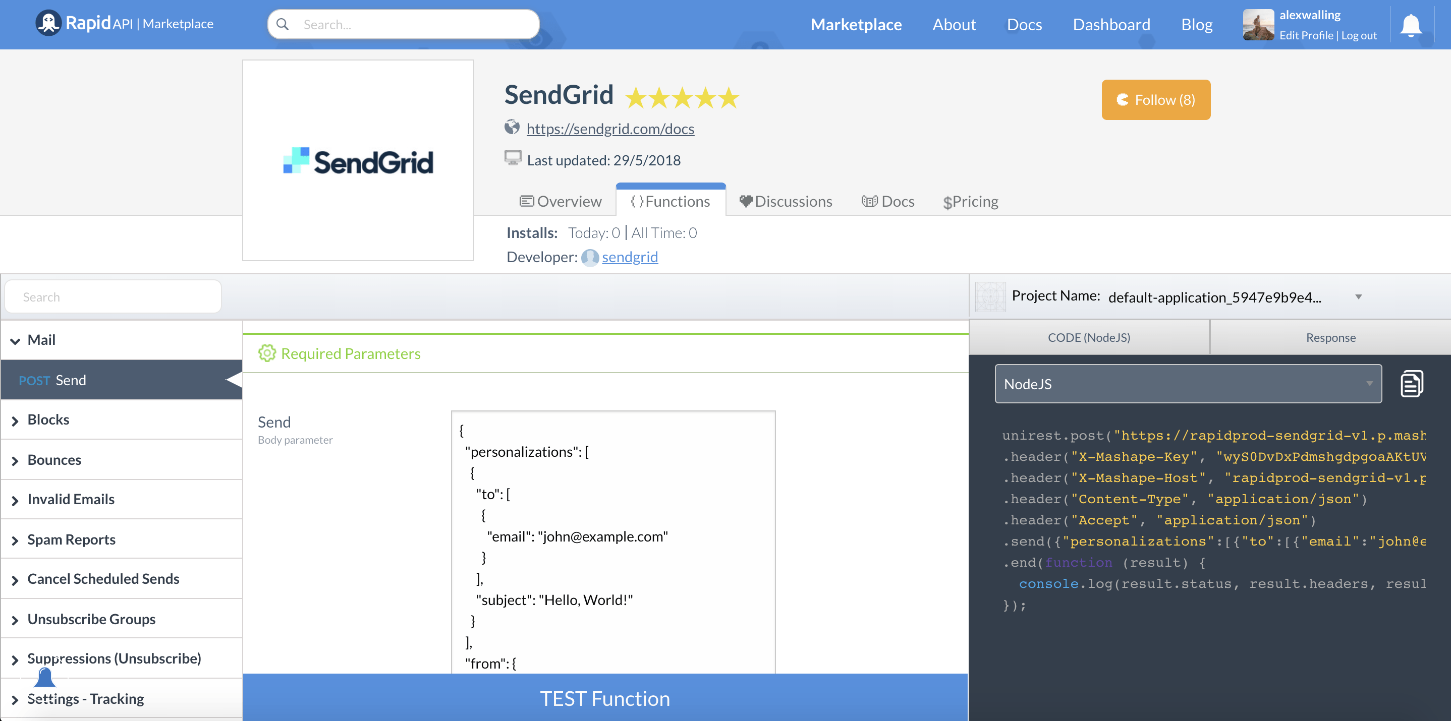 SendGrid send mail endpoint page on RapidAPI