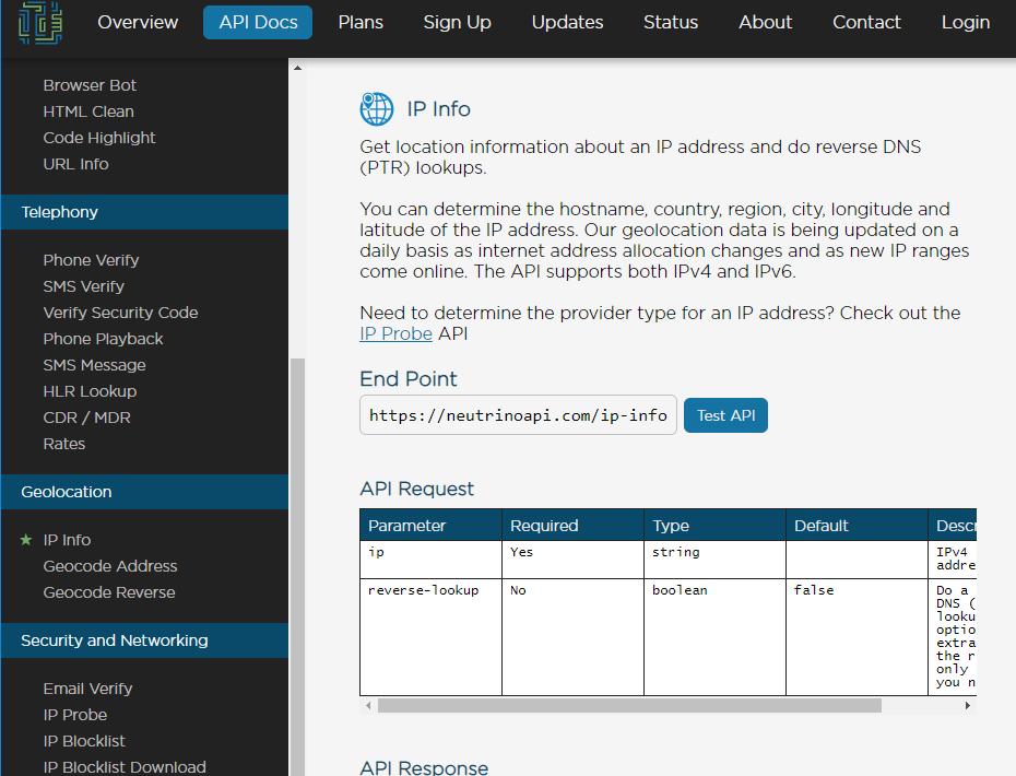 neutrino ip info api