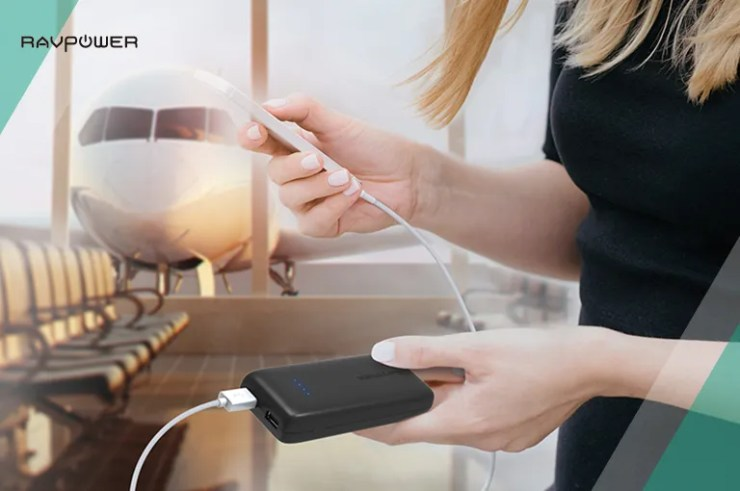 Woman Portable Charger Airport Plane Power Banks