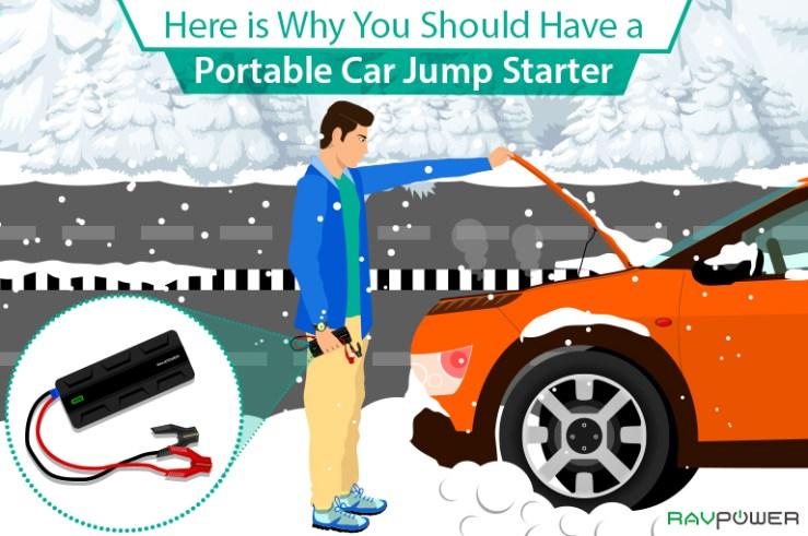 Portable Car Jump Starter RAVPower Winter Festive Holidays Christmas Vehicle Truck Power Bank