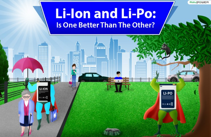 Li-Ion and Li-Po battery comparison banner featuring superheroes in a park saving and help citiizens
