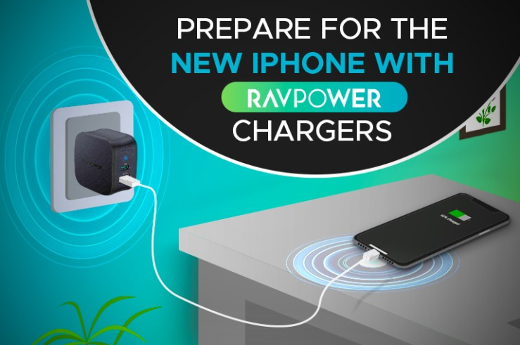 RAVPower charger powering an iPhone
