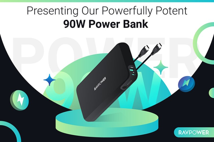 Image of the PB232 power bank against a green, white and black back drop